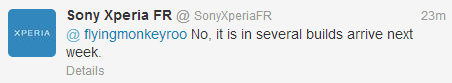 Sony Xperia France tweet reply
