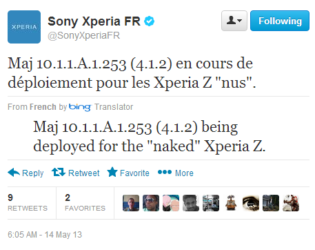 Sony xperia France tweets about Jelly Bean Android 4.1.2 10.1.1.A.1.253 firmware