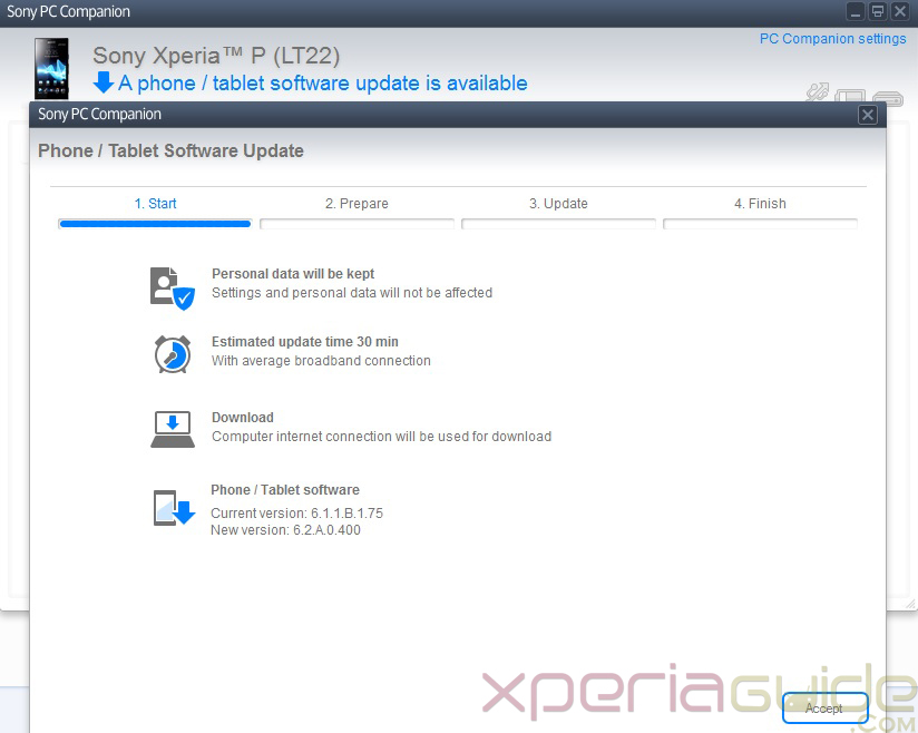 Update Xperia P LT22i to Android 4.1.2 Jelly Bean 6.2.A.0.400 firmware  via PC Companion