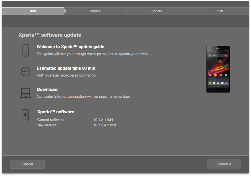 Update Xperia Z C6603 on Jelly Bean 10.1.1.A.1.253 firmware via PC Companion