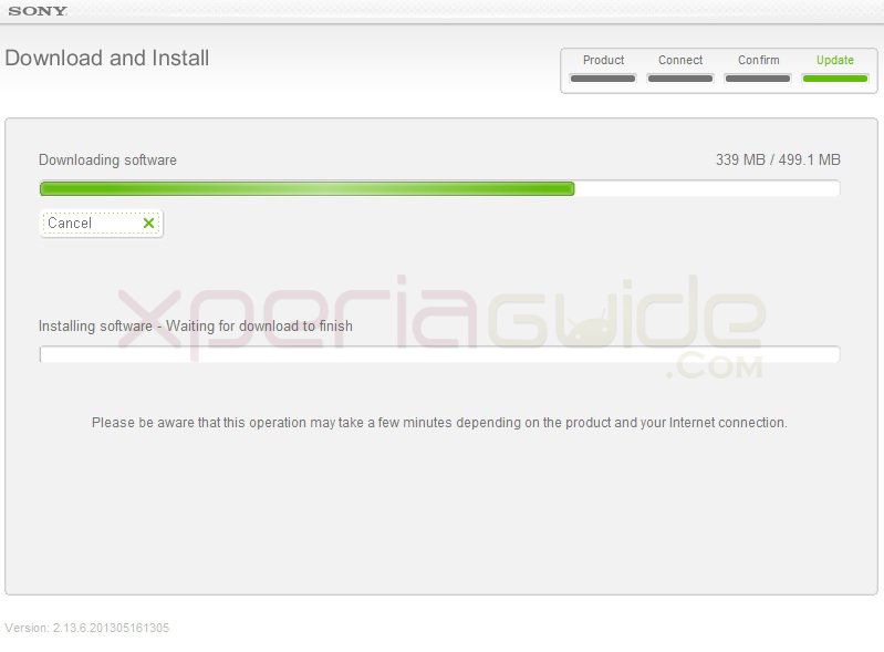 Updating Xperia SL Jelly Bean 6.2.B.0.200 android 4.1.2 firmware via SUS