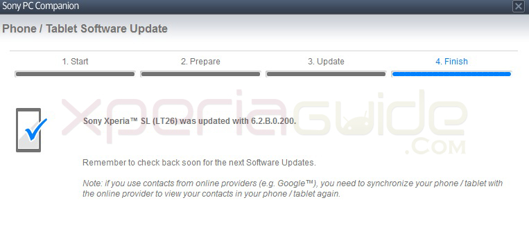 Updating Xperia SL LT26ii to Android 4.1.2 Jelly Bean 6.2.B.0.200 firmware via PC Companion screenshot
