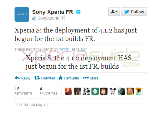 Xperia France Tweeted Xperia S Android 4.1.2 Jelly Bean Rolling out