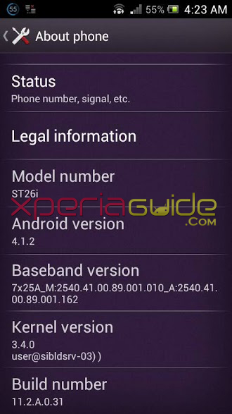 Xperia J ST26i Android 4.1.2 Jelly Bean 11.2.A.0.31 firmware details