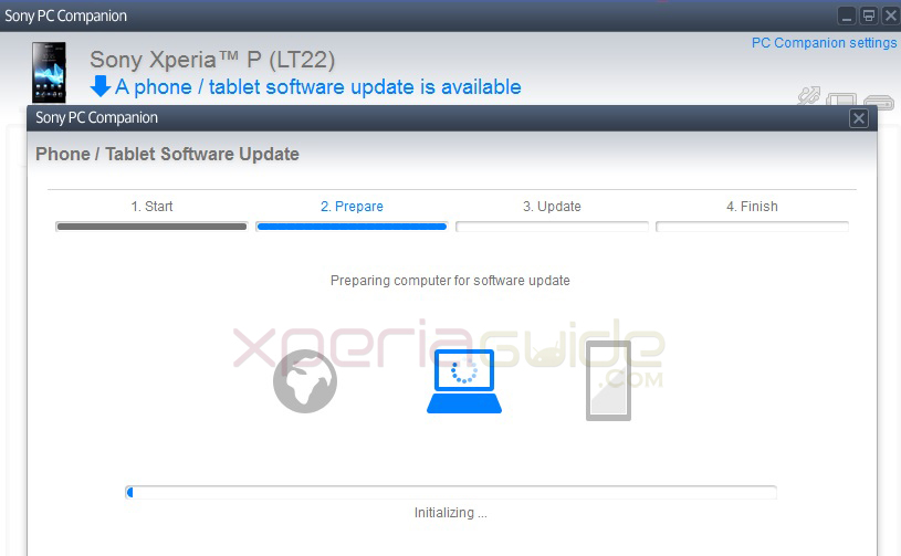 Xperia P LT22i to Android 4.1.2 Jelly Bean 6.2.A.0.400 firmware update via PC Companion