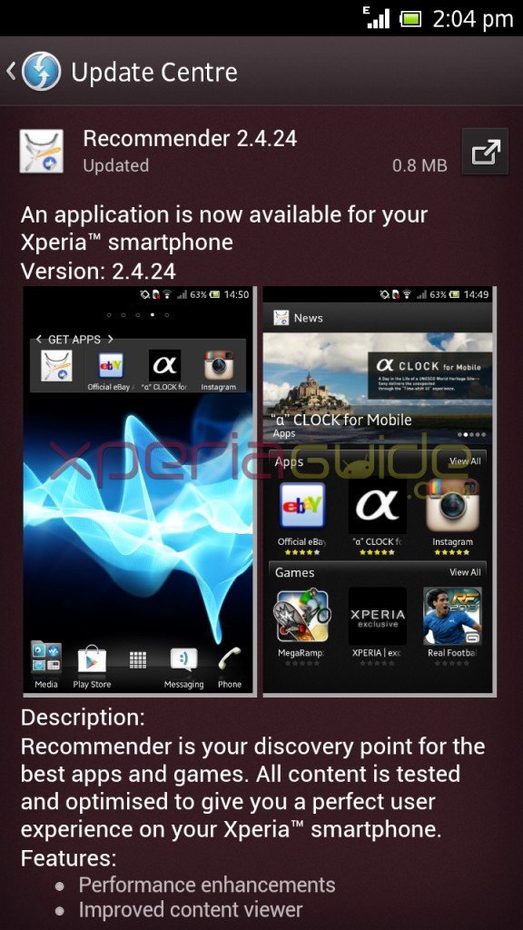 Xperia Recommender Version 2.4.24 App Update