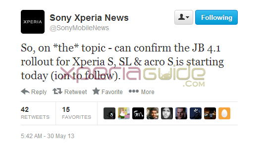 Xperia S Jelly Bean 6.2.B.0.200 firmware Tweet by Sony Xperia  News