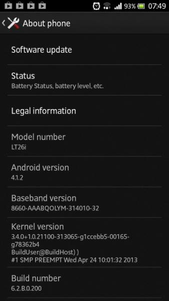 Xperia S LT26i Jelly Bean 6.2.B.0.200 firmware details