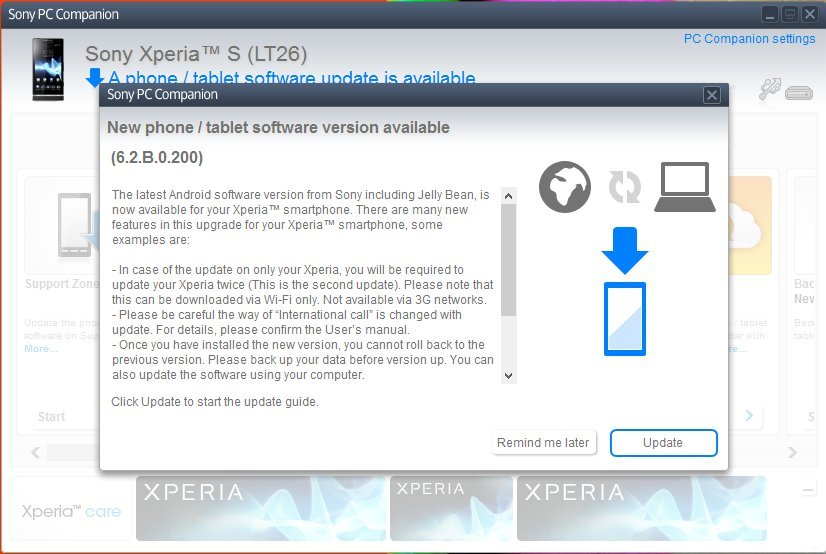 Xperia S LT26i to Android 4.1.2 Jelly Bean 6.2.B.0.200 firmware update via PC Companion software