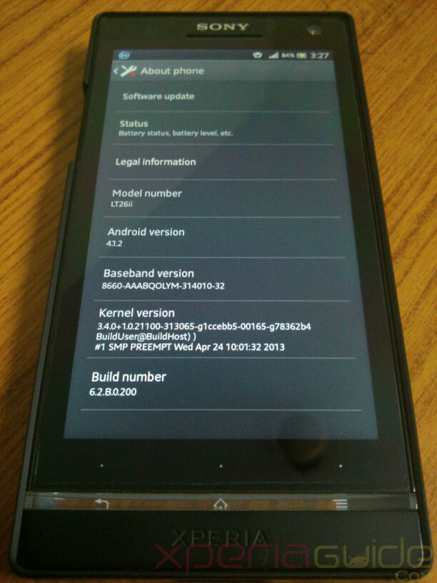Xperia SL Jelly Bean 6.2.B.0.200 firmware Real Photos
