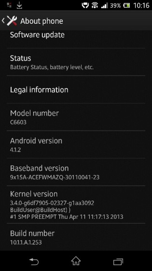 Xperia Z Jelly Bean Android 4.1.2 10.1.1.A.1.253 firmware Details