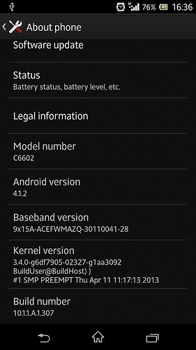 Jelly Bean 10.1.1.A.1.307 firmware for Xperia Z C6602