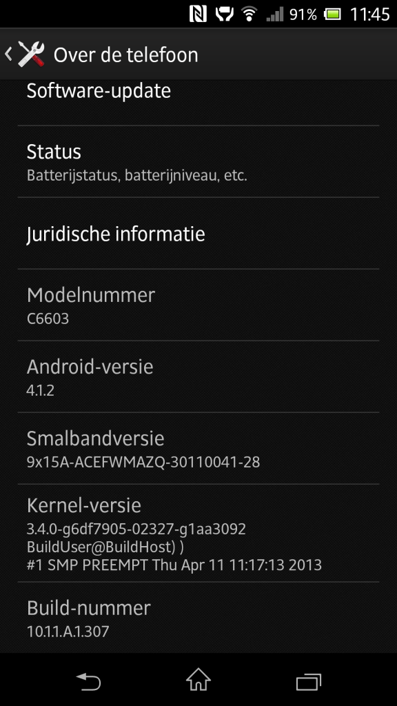 Jelly Bean 10.1.1.A.1.307 firmware for Xperia Z C6603 Details
