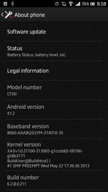 Xperia S LT26i Jelly Bean 6.2.B.0.211 firmware details