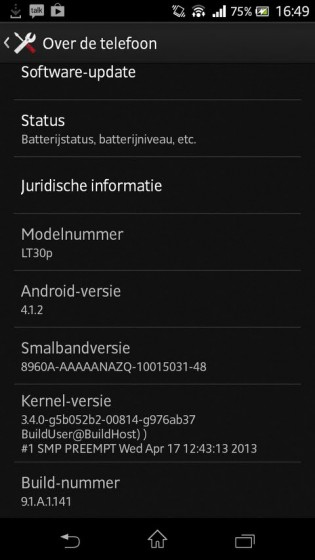 Xperia T LT30p Jelly Bean 9.1.A.1.141 firmware details